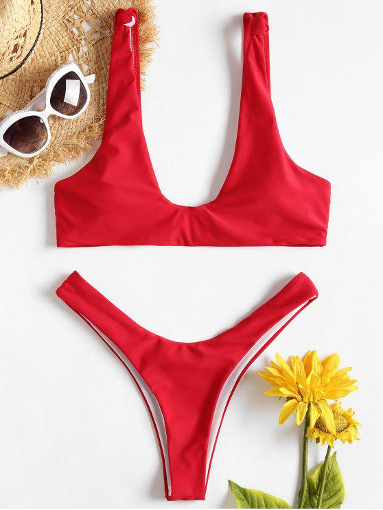 hot Knot High Leg Bikini - LOVE RED S