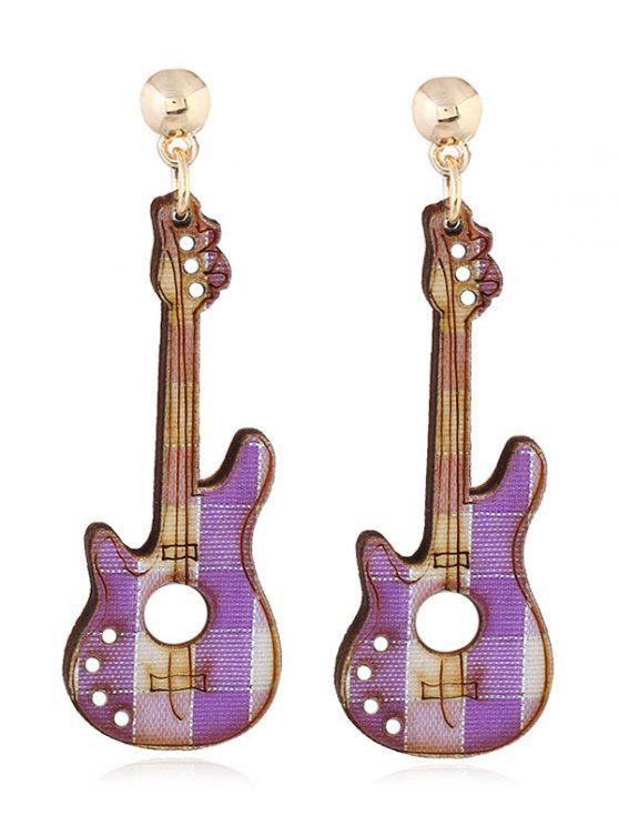 Brincos de Dangle de festa decorativa de guitarra - Roxo