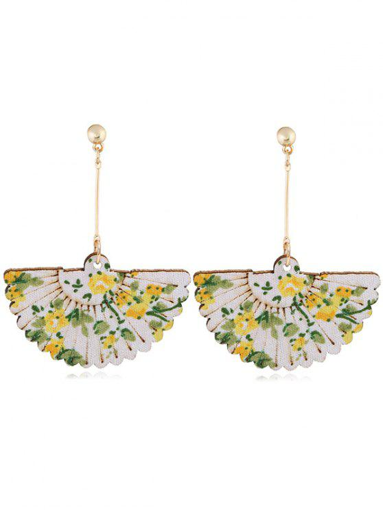 trendy Floral Fan Decorative Wedding Party Hook Earrings - YELLOW
