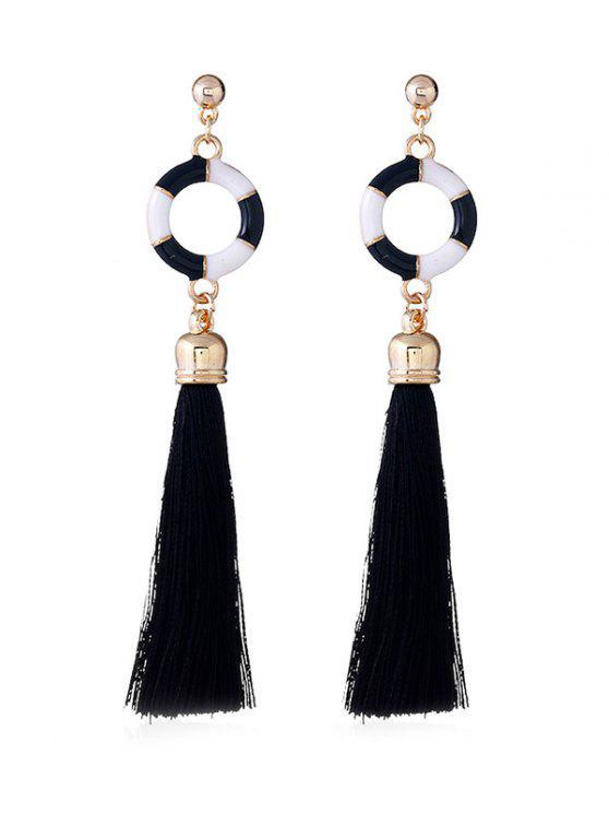 Bague de natation décorative longues boucles d'oreilles Tassel - Noir
