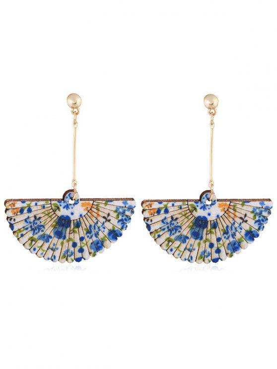 outfit Floral Fan Decorative Wedding Party Hook Earrings - BLUE