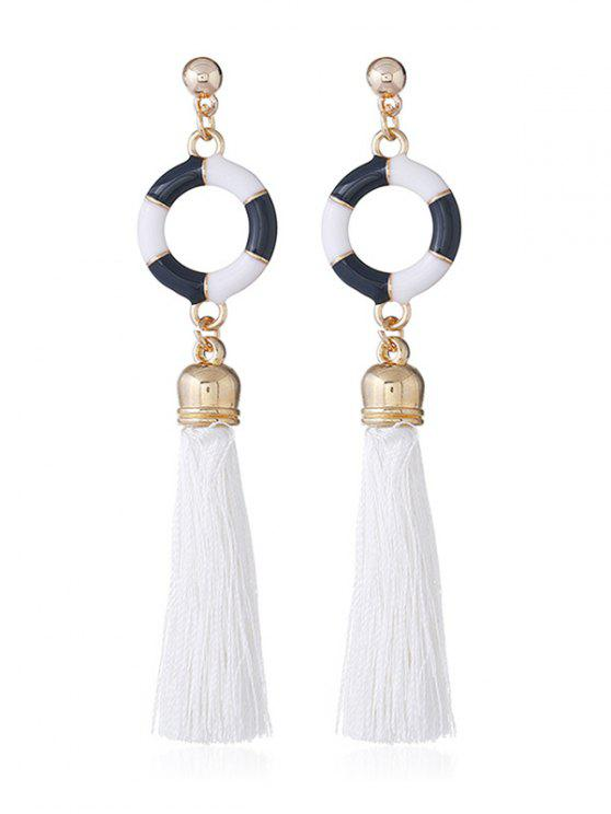 shops Swimming Ring Decorative Long Tassel Drop Earrings - WHITE