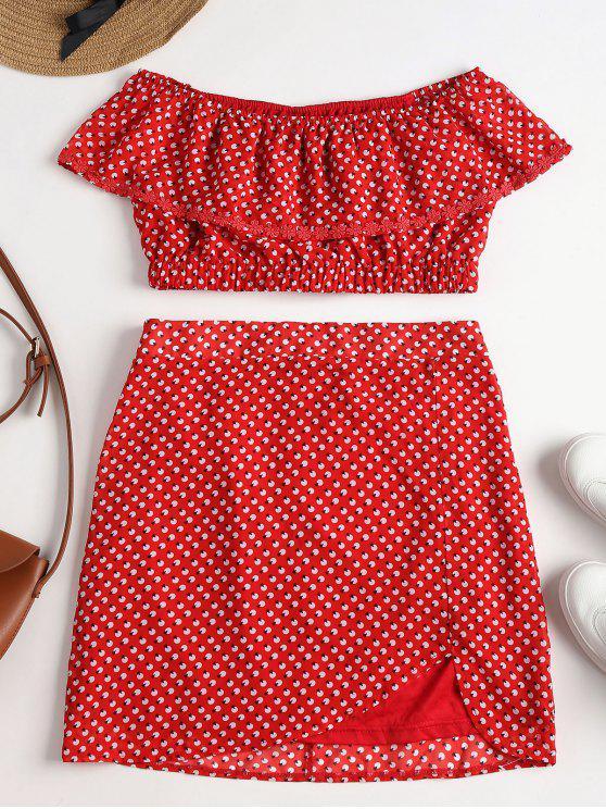 Conjunto de falda de hombro estampado - Amo Rojo S
