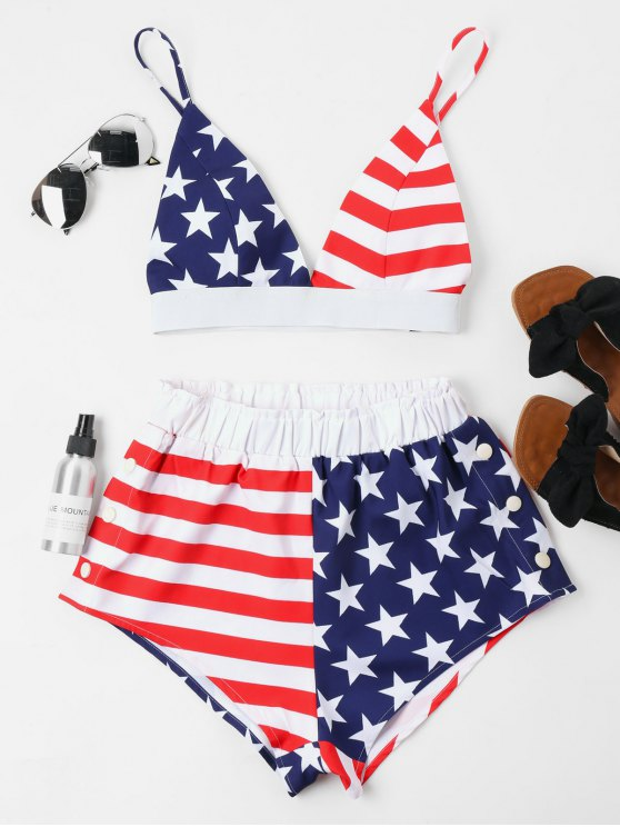outfits American Flag Cami Shorts Set - MULTI S