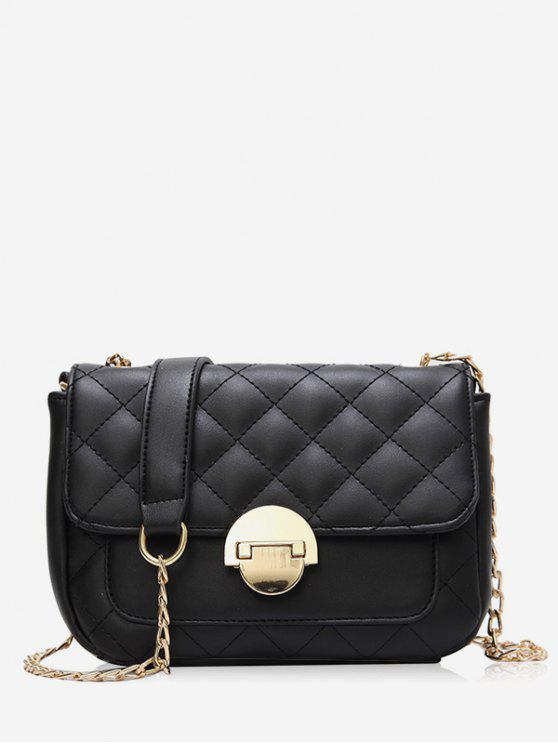 best Retro Quilted Flap Chain Crossbody Bag - BLACK