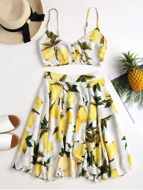 unique Lemon Print Cami Skirt Set - WHITE M