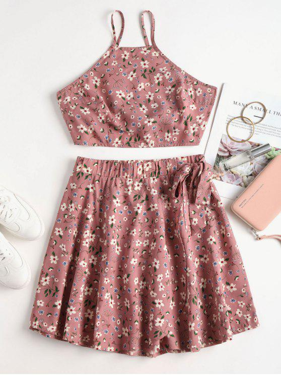 womens Floral Print Knotted Skirt Set - LIPSTICK PINK M