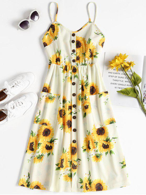fancy Button Sunflower Print Midi Dress - MULTI L