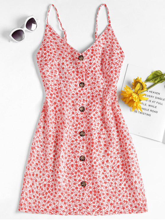womens Floral Print Button Up Mini Dress - RED S