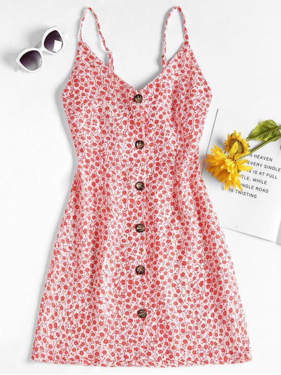 Mini vestido de estampado floral - Rojo XL
