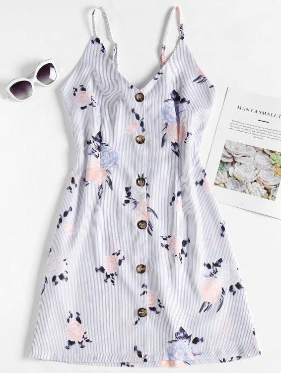 Vestido sin mangas floral a rayas con botones - Multicolor S