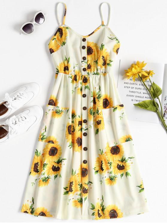 unique Button Sunflower Print Midi Dress - MULTI XL