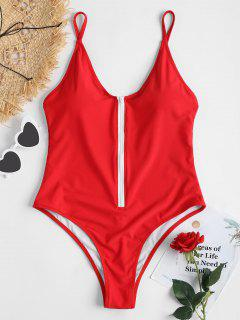 Zipper One Piece Swimsuit - Love Red L