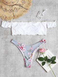 Floral Lettuce Off Shoulder Bikini - White L