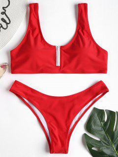 Zippered Tank Bikini Set - Love Red M