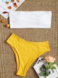 Hoch Geschnittenes Zweifarbiges Bandeau Bikini-Set - Gelb S
