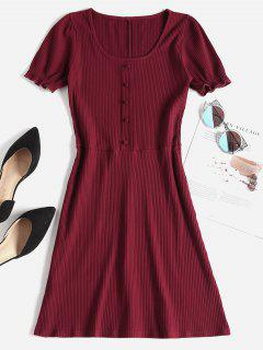 Ribbed Puff Sleeve Mini Skater Dress - Red Wine M