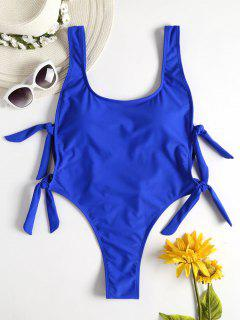 Backless Knot High Leg Swimsuit - Earth Blue M