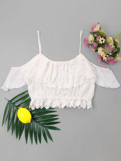 Open Shoulder Flounce Applique Top - White M