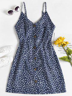 Robe Fleurie à Bretelles à Boutons - Bleu S