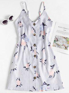 Button Up Striped Floral Slip Dress - Multi S