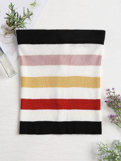 Ribbed Colorful Striped Tube Top - Multi-a