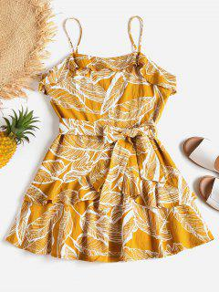 Ruffle Leaves Slip Dress - Golden Brown M