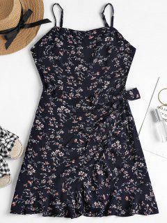 Overlap Ruffles Mini Dress - Midnight Blue L