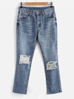 Zippered Ripped Jeans - Jeans Blue L