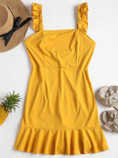 Ruffle Strap Mini Sun Dress - Mustard L