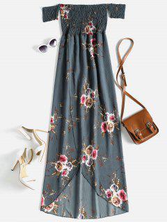 Floral Off The Shoulder High Low Dress - Slate Gray L