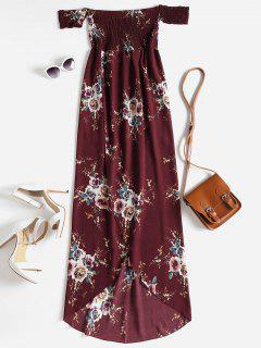 Blumen Schulterfreies Hohe Niedriges Kleid - Roter Wein M