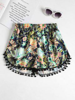 Tropical High Waisted Pompom Dolphin Shorts - Multi L