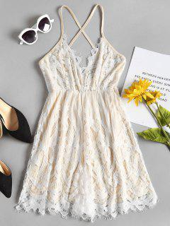 Cami Criss Cross Lace Romper - White M