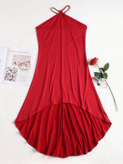 V Strap High Low Slip Dress - Red S