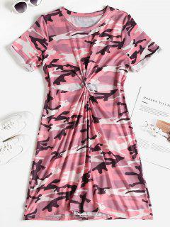 Camo Print Knotted Cutout Tee Dress - Pink L