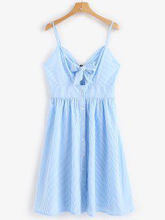 Striped Button Tie Front Cami Midi Dress - Iceberg M