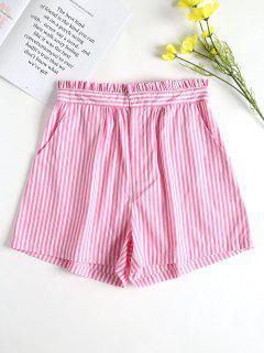 Pockets Striped High Waisted Shorts - Hot Pink S