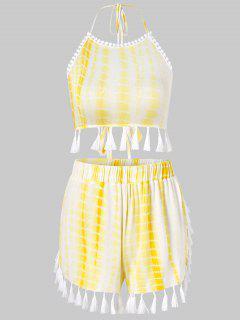 Schnur Binden Färbung Quasten Shorts Set - Gelb Xl
