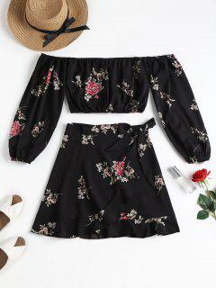 Blouson Sleeve Crop Top Skirt Matching Set - Black M