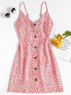Mini-robe Imprimée à Fleurs - Rouge M