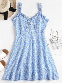 Daisy Lace Up Mini Dress - Cornflower Blue M