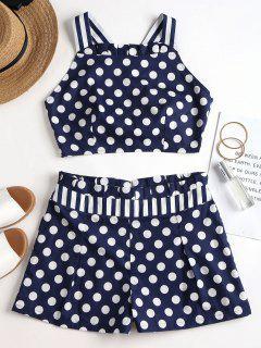 Criss Cross Dots Stripes Shorts Set - Cadetblue S
