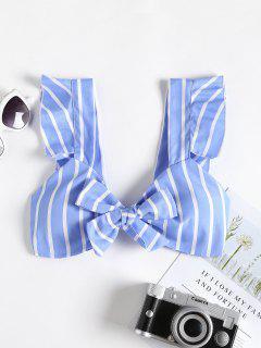 Ruffle Padded Striped Bralette Crop Top - Sky Blue M