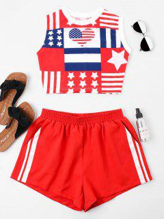 American Flag Sleeveless Shorts Set - Ruby Red M