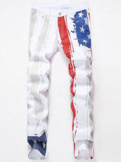 Stars And Stripes Printed Stretch Jeans - White 40
