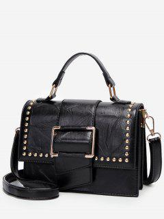 Minimalist Flapped Studs PU Leather Crossbody Bag - Black