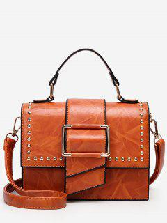 Minimalist Flapped Studs PU Leather Crossbody Bag - Brown