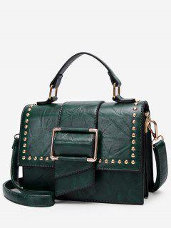 Minimalist Flapped Studs PU Leather Crossbody Bag - Green