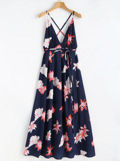 Floral Print Tie Up Maxi Beach Dress - Blue L